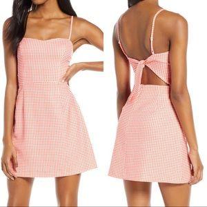 NWT Gingham Tie Back Mini Dress